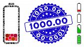 Mosaic Low Battery Level Icon And Grunge Stamp Seal With 1000.00 Text. Mosaic Vector Is Designed Wit poster