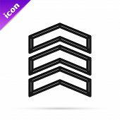 Black Line Military Rank Icon Isolated On White Background. Military Badge Sign. Vector Illustration poster