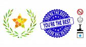 Mosaic Star Glory Wreath Icon And Rubber Stamp Seal With Youre The Best Text. Mosaic Vector Is Forme poster