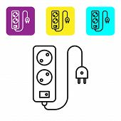 Black Line Electric Extension Cord Icon Isolated On White Background. Power Plug Socket. Set Icons C poster