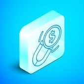Isometric Line Magnet With Money Icon Isolated On Blue Background. Concept Of Attracting Investments poster