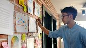 Young Asian Creative Design Man Reading And Thinking About Paper Work Ideas On Office Wall With Conc poster
