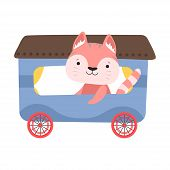 Funny Cat With Whiskers Riding On Carriage Vector Illustration poster