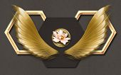 3d Illustration, Brown Fabric Background, Golden Hexagonal Frames, Golden Wings, Pink Bud Of A Water poster