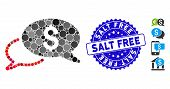Mosaic Wire Transfer Icon And Rubber Stamp Watermark With Salt Free Text. Mosaic Vector Is Composed  poster
