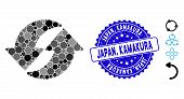 Mosaic Refresh Icon And Rubber Stamp Seal With Japan, Kamakura Caption. Mosaic Vector Is Created Wit poster
