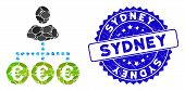 Mosaic Euro Mass Payer Icon And Distressed Stamp Seal With Sydney Caption. Mosaic Vector Is Composed poster