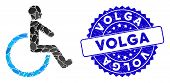 Mosaic Wheelchair Icon And Corroded Stamp Seal With Volga Text. Mosaic Vector Is Composed With Wheel poster