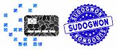 Mosaic Digital Credit Card Icon And Corroded Stamp Seal With Sudogwon Caption. Mosaic Vector Is Comp poster