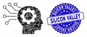 Mosaic Artificial Mind Icon And Distressed Stamp Seal With Silicon Valley Caption. Mosaic Vector Is  poster