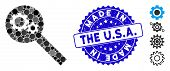 Mosaic Search Tools Icon And Distressed Stamp Seal With Made In The U.s.a. Phrase. Mosaic Vector Is  poster