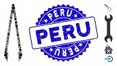 Mosaic Tweezers Icon And Grunge Stamp Seal With Peru Caption. Mosaic Vector Is Composed With Tweezer poster