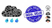 Mosaic Rain Weather Icon And Distressed Stamp Seal With India, Delhi Caption. Mosaic Vector Is Creat poster