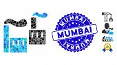 Mosaic Smoking Industry Icon And Grunge Stamp Watermark With Mumbai Phrase. Mosaic Vector Is Compose poster