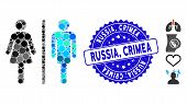 Mosaic Wc Persons Icon And Rubber Stamp Watermark With Russia, Crimea Phrase. Mosaic Vector Is Creat poster