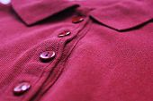 Polo Shirt Close Up Of Buttoned Up Purple Color Collar Neck. Vivid Stylish Cotton Material T-shirt,  poster