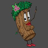 Log With A Female Face. Vector Illustration Of A Cartoon Log With A Funny Face. Hand Drawn Tree With poster