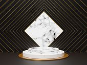 3d Abstract Minimal Geometric Forms. Glossy White Marble Luxury Podium For Your Design. Pastel Color poster