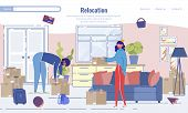 Relocation And Home Moving Service Landing Page Design. Packages Delivery Online Order. Cartoon Youn poster
