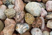 Granite Stones, Rocks Set  Us Background. Big Granite Stones Boulders Of Various Forms. Stone For Th poster