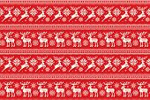 Christmas Pixel Pattern With Deer And Elk. Traditional Nordic Seamless Striped Ornament. Scheme For  poster
