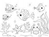 Children Coloring. The Underwater World, The Bottom Of The Ocean. Sea Inhabitants, Fish. Vector poster