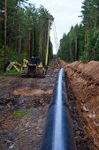 A Dug Trench In The Ground For The Installation And Installation Of Industrial Gas And Oil Pipes. T. poster