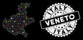 Bright Mesh Veneto Region Map With Lightspot Effect, And Seal. Wire Carcass Triangular Veneto Region poster