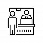 Black Line Icon For Ticket-counter Ticket Counter Queue Passenger Window Laptop Employee Cashier poster