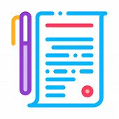 Agreement Pen Icon Vector. Outline Agreement Pen Sign. Isolated Contour Symbol Illustration poster