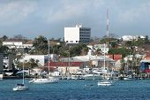 The Industrial View Of Nassau City Marina And Port Facilities (bahamas). poster