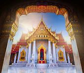Amazing Thailand Tourist Religion Attractionswat Benchamabophit Or Marble Temple In Bangkok, Thailan poster