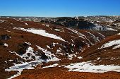Natural Red Mountains With Some Snow In Kyzyl-chin Valley, Also Called As Mars Valley. Altai, Siberi poster