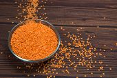 Grains Of Red Lentils In A Plate. Grains Scattered Next To The Plate. Organic Healthy Cereals. On A  poster