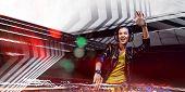 Female dj in nightclub. Mixed media poster