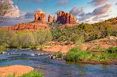 Cathedral Rock In Sedona Arizona Viewed From Red Rock Crossing Along Oak Creek Canyon poster