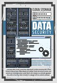 Data Security And Cloud Storage, Server Login And Password Info. Vector Digital Service Or App With  poster