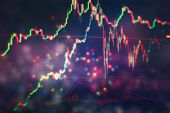 Stock Market Graph On Led Screen. Finance And Investment Concept. Selective Focus. Charts Of Financi poster
