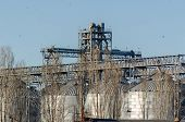 Modern Grain Terminal. Elevator. Silo For Grain Storage And Conveyor Lines. Sunny Autumn Day. Withou poster