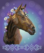 Brown Horse Looking In Profile, Vector Colorful Realistic Illustration. Portrait Of Horse With Flowe poster