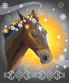 Brown Horse, Vector Colorful Realistic Illustration. Portrait Of Horse With Flowers In Mane Isolated poster