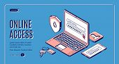 Online Access Isometric Web Banner. Login And Password Enter Page On Laptop Screen, User Account Ver poster