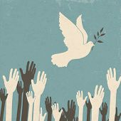 stock photo of heartwarming  - Group of hands and dove of peace - JPG