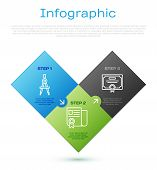 Set Line Drawing Compass, Certificate Template And Certificate Template. Business Infographic Templa poster