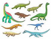 Dinosaur Monster Animal Icons Of Cartoon Dino Reptiles. Prehistoric Brachiosaurus, Mesosaurus, Eryth poster