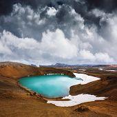 Acid hot lake in the geothermal valley Leirhnjukur, near Krafla volcano, Iceland, Europe. Landscape  poster