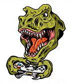 T Rex Dinosaur Gamer Angry Head Which Play Game On Joystick For Video Game Arcade. Custom Design Vec poster