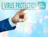Word Writing Text Virus Protection. Business Concept For Program Designed To Protect Computers From  poster
