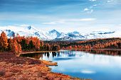 Kidelu Lake In Altai Mountains, Siberia, Russia. Beautiful Autumn Landscape. poster
