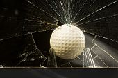 foto of dimples  - Golf ball flies through home glass window - JPG